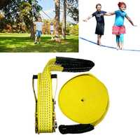 50ft Slacklines Outdoor Extreme Sport Balance Trainer Slackline Rope Sling For Kids And Adults
