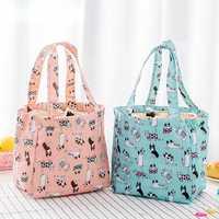 Cute Cartoon Drawstring Lunch Bag Large Capacity Beauty Cooler Bag Lasting Insulation Bag Cloth Animal Pattern Beach Bag