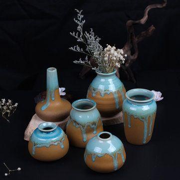 Zakkz Glaze Ceramic Vase Ornaments Handmade Aroma Bottle Flower Arrangement Pottery Decor Gift