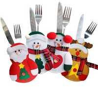 Christmas Party Home Table Decoration Snowman Elderly Ek Knife Fork Bag Cover Suit Toys Kids Gift