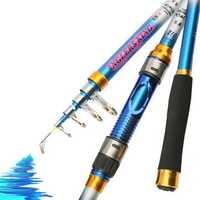ZANLURE 2.4m 3.6m Carbon Fiber Telescopic Spinning Fishing Rod Blue Travel Fishing Pole
