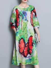 Elegant Floral Print Silk Dresses