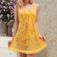 Women Floral Lace See Through Mesh Braces Nightdress