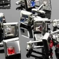 Men Cuff Links Stainless Steel Silver Vintage Square Crystal Wedding Party Gift Accessories