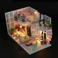 Hoomeda M035 DIY Doll House Anna's Pink Melody With Cover Music Movement 28cm Gift Decor Toys