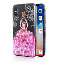 Bakeey 3D Painting Protective Case For iPhone X/8/8 Plus/7/7 Plus/6s Plus/6 Plus/6s/6 Pink Dress Glitter Bling