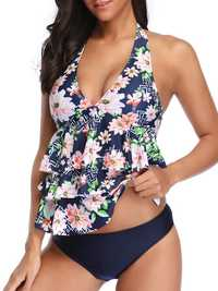 Ladies Split Halter Print Multi-Layer Swimwear