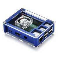 3-in-1 Blue ABS Enclosure Protective Case + Cooling Fan + Heatsink Kit for Raspberry Pi 3B+ / 3B / 2B