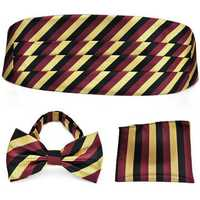 PenSee Mens Neckties Formal Stripe Pre-tied Bow Tie & Pocket Square & Cummerbund Set