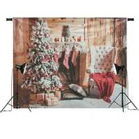7x5ft Christmas Fireplace Christmas Tree Chair Gift Stockings Photography Backdrop Studio Prop Background