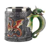 Christmas 3D Novelty Medieval Dragon Mug Faucet Cup Double Wall Stainless Steel Coffee Cups And Mugs Copos Tazas Stainless