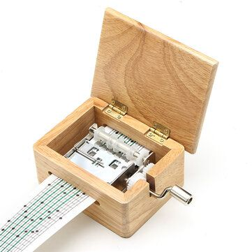 15 Tone DIY Hand cranked Music Box Wooden Box With Hole Puncher And Paper Tapes