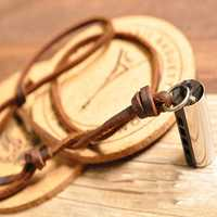 Personalized Vintage Mini Harmonica Pendant Leather Necklace