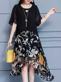 Short Sleeve Floral Print Patchwork Chiffon Dress