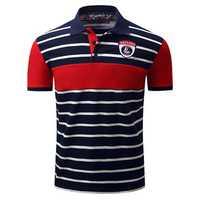 Spring Summer Men's Turn-down Collar Golf Shirt Casual Business Striped T-shirt