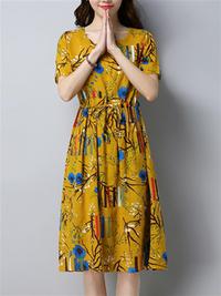 Women Vintage Print Dresses O-Neck Short Sleeve Summer Dress