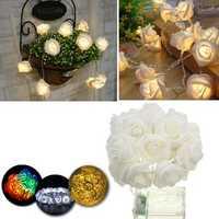 Battery Powered 2.3M 20LEDs Indoor Bedroom Decor Wedding Rose Flower Fairy String Light