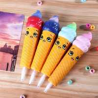 4PCS Wholesale Squishy Pen Cap Smile Face Ice Cream Cone Slow Rising Jumbo With Pen Stress Relief Toys