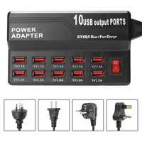 10 USB 2.0 Ports 5V 12A Charging Station Universal Charger Power Adapter