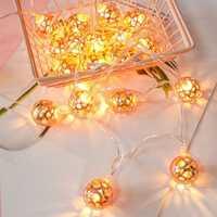 Battery Operated 1.5M 3M Warm White Rose Gold Ball Shaped LED String Light for Christmas Decor DC3V