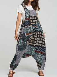 Women Ethnic Cotton Print Overall Side Pockets Harem Romper