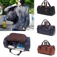Men Large Capacity PU Leather Travel Gym Bag Handbag Tote Duffle Shoulder Pouch