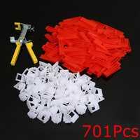 500Pcs Clips+200Pcs Wedges Tile Leveling System Spacer+Pliers