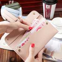 Women Litchi Pattern Solid Color Card Slot Wallet Bag Purse Handbag For Smartphone iPhone Samsung