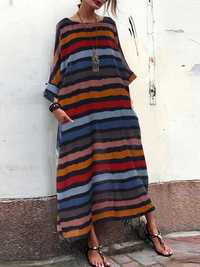 Casual Stripe Crew Neck Maxi Dress