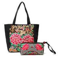 Women Ethnic Embroidery Flowers Canvas Handbag Casual Clutch Bags 2 Pcs