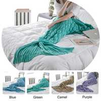 Honana WX-39 90x190cm Yarn Knitting Mermaid Tail Blanket Fish Scales Style Super Soft Sleep Bag Bed Mat