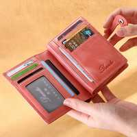 Women Genuine Leather Small Wallet Short Wallet Card Holder