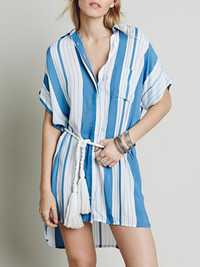 Women Casual Striped Short Sleeve Shirt Dress with Pockets