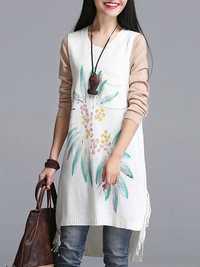 Women Vintage Folk Style Sleeveless Sweater Knitted Printing Sweater Dress