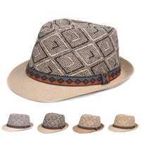 Panama Style Ethnic Trilby Fedora Straw Sun Hat with Belt