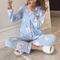 2Pcs Printed Long Sleeve Lapel Button Silk Pajama Sets