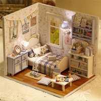 Cuteroom DIY Wooden Doll House Room Box Handmade 3D Miniature Dollhouse Wood Educational Toys Girl G