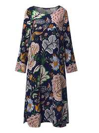 Loose Women Floral Printed Three Quarter Sleeve Dress