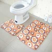 2Pcs Flower Pattern Absorbent Toilet Seat Pedstal Mat Coral Fleece Non Slip Carpet Set