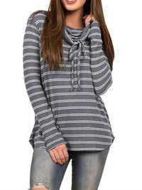 Casual Women Striped Long Sleeve T-Shirts