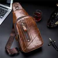 Bullcaptain Genuine Leather Business Casual Chest Bag