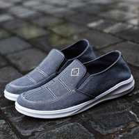 Men Low Top Canvas Breathable Flat Slip On Casual Loafers
