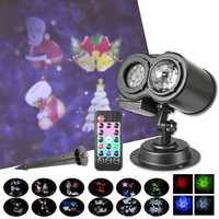 LED Laser Dual Projector Stage Light Waterproof Christmas Party Landscape Lamp AC100-240V