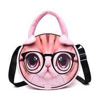 Women Cute Cat Print Plush Handbag Chic Crossbody Bag