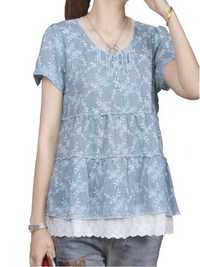 Women Casual Lace Patchwork Tops Round Neckline Short Sleeve Blouse