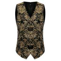 Mens Gold Floral Dress Vest Fit Printing Casual Suit Vest