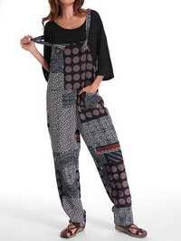 Women Cotton Polka Dot Print Jumpsuit