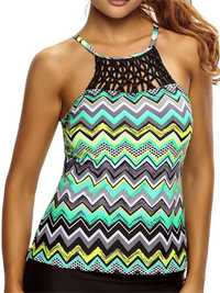 Women Sexy Multi-color Cross Criss-Cross Top Ripple High Neck Printing Swimsuit