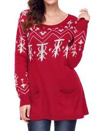 Women Christmas Long Sleeve Snow Printed Sweaters