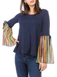Women Casual Striped Patchwork Bell Sleeve Tops